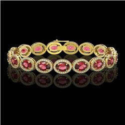 21.71 CTW Tourmaline & Diamond Halo Bracelet 10K Yellow Gold - REF-338N9Y - 40621