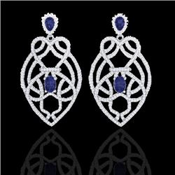 7 CTW Tanzanite & Micro VS/SI Diamond Heart Earrings Solitaire 14K White Gold - REF-381M8H - 21143