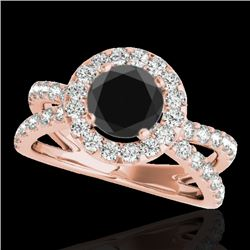 2.01 CTW Certified VS Black Diamond Solitaire Halo Ring 10K Rose Gold - REF-99A5X - 34029