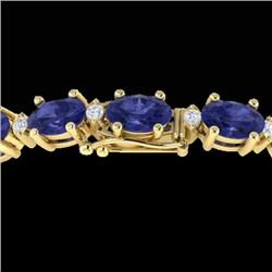 26.3 CTW Tanzanite & VS/SI Certified Diamond Eternity Bracelet 10K Yellow Gold - REF-345F5N - 29465