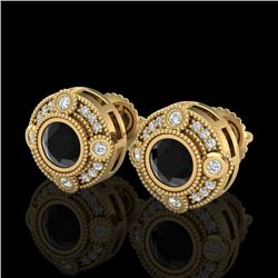 1.5 CTW Fancy Black Diamond Solitaire Art Deco Stud Earrings 18K Yellow Gold - REF-116X4T - 37697