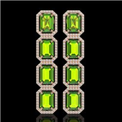 17.81 CTW Peridot & Diamond Halo Earrings 10K Rose Gold - REF-220W8F - 41598