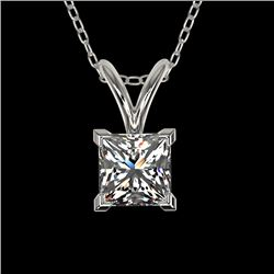 0.50 CTW Certified VS/SI Quality Princess Diamond Necklace 10K White Gold - REF-79X5T - 33166