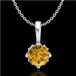 0.62 CTW Intense Fancy Yellow Diamond Art Deco Stud Necklace 18K White Gold - REF-87W3F - 37798