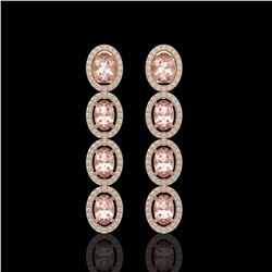 6.09 CTW Morganite & Diamond Halo Earrings 10K Rose Gold - REF-130N8Y - 40515
