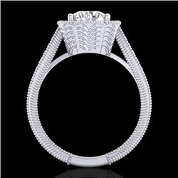 1.33 CTW VS/SI Diamond Solitaire Art Deco Ring 18K White Gold - REF-418F2N - 37103