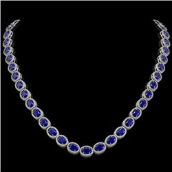 34.11 CTW Sapphire & Diamond Halo Necklace 10K White Gold - REF-537M5H - 40406