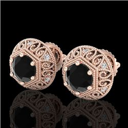 1.31 CTW Fancy Black Diamond Solitaire Art Deco Stud Earrings 18K Rose Gold - REF-81M8H - 37556