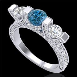 2.3 CTW Fancy Intense Blue Diamond Micro Pave 3 Stone Ring 18K White Gold - REF-236T4M - 37642