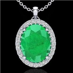 2.75 CTW Emerald & Micro VS/SI Diamond Halo Solitaire Necklace 18K White Gold - REF-60H2A - 20587