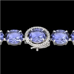 75 CTW Tanzanite & Micro Pave VS/SI Diamond Halo Bracelet 14K White Gold - REF-865A6X - 22280