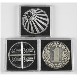 3x 1oz .999 Fine Silver Collector Bullion Rounds
