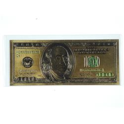 Gold Plated Banknote.