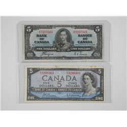 2x Bank of Canada 1937 and 1954 Five Dollar Notes.