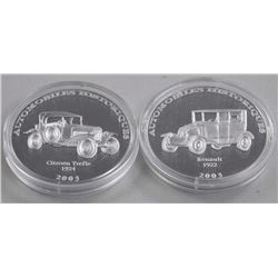 2x Proof .9999 Fine Silver 10 Francs Coins - Histo