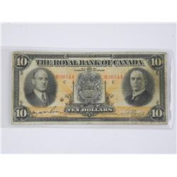 The Royal Bank of Canada 1933 - Ten Dollar Note. L