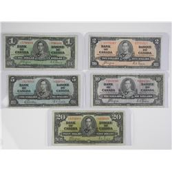 Lot (5) Bank of Canada 1937 Notes - One, Two, Five