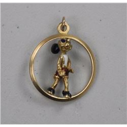 18kt Gold Mickey Mouse Pendant.