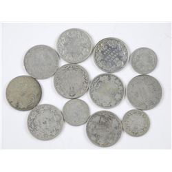 12x Old Canadian Silver Coins: 1870-1936 Era Mix