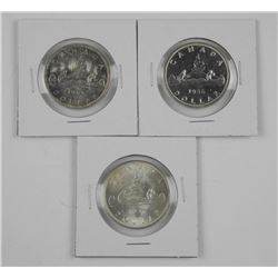 3x Canada Silver Dollars: 1937, 1956 and 1965 Type