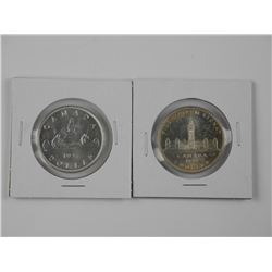 2x Canada Silver Dollar Coins: 1937 and 1939. Nice