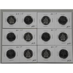 6x Pair 2017 Canada 50 Cents. (SMR)