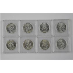 8x 1964 USA Silver Kennedy 50cent