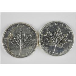 2x .9999 Fine Silver Maple Leaf - $5.00 - 2010 and
