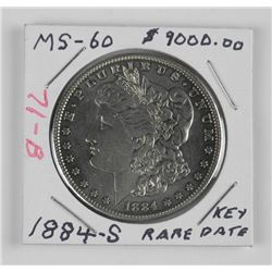 (WAB71) 1884S US Silver Morgan Dollar. MS-60. Rare