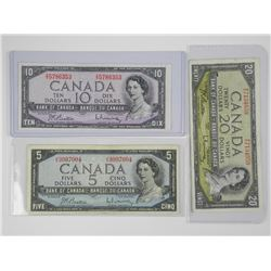 Lot (3) 1954 Bank of Canada - Five, Ten and Twenty