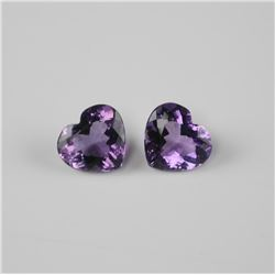 2x Heart Cut Amethyst. 24.39ct, Eye Clean. TRRV: $