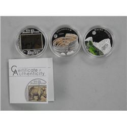 3x 925 Sterling Silver Proof Coins, Special High T