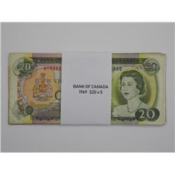 5x Bank of Canada 1969 - $20.00.