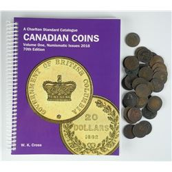 40x Canada Large 1 Cent Coins with Charlton Guide
