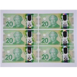 6x BOC $20 Note. Consecutive Serial Numbers.