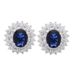 Ladies 925 Sterling Silver Earring - Oval Sapphire