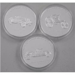 3x .9999 Fine Silver 10 FRANCS Historical Car Coin