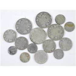 15x Old Canadian Silver Coins. Mix of George, Edwa