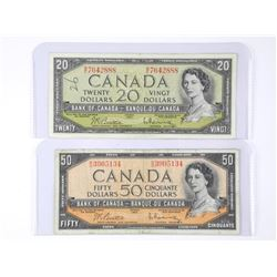 Lot (2) Bank of Canada 1954 Twenty and Fifty Dolla