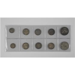 10x NFLD Silver Coins, Mixed.
