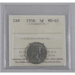 1958 Canada 5 Cent (MS-65) ICCS (OER)