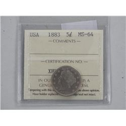 USA 1883 Five Cents MS-64.