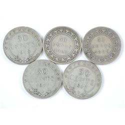 5x Silver NFLD - 50 Cent Coins: 1899, 1900, 1911,