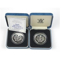 2x Royal Mint - 5 Pounds Silver Coin 90th Birthday