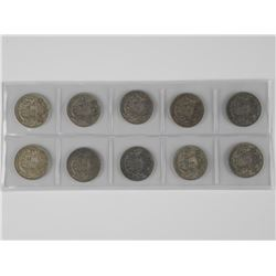 10x Canada Silver 50 Cent Coins. King George VI 19
