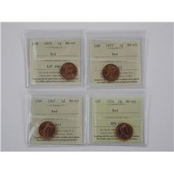 (GE1250) 4x Canada 1 Cent ICCS, MS-65 RED 1967/74/