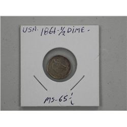 1861 USA Half Dime MS-65 (MEXR)