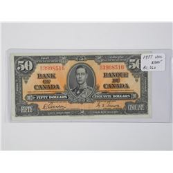 Bank of Canada 1937 Fifty Dollar Note - G/T UNC. B