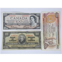 3x Bank of Canada 1937, 1954, 1975 One Hundred Dol