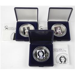 3x Hollywood Legends .925 Silver Coin. Retail: $27